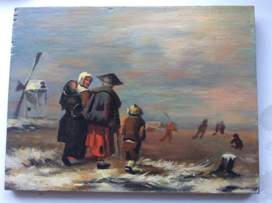 Unknown artist. Family by the sea