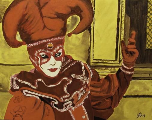 Арташес Владимирович Бадалян. The character of the Venice Carnival - x-hardboard-m - 35x45