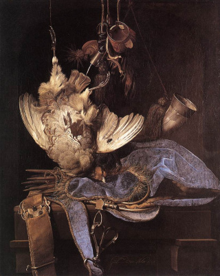 Willem van Aelst. Still life with hunting equipment and dead birds
