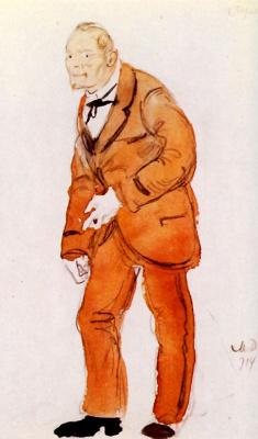 "Mstislav Valerianovich Dobuzhinsky. Sketch for the costume of Peter Verkhovensky for the play ""Nikolai Stavrogin"""