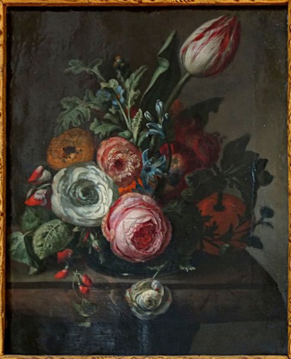 Rachelle Ruysch. Roses and tulips in a marble stand