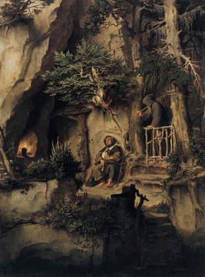Moritz background Schwind. A musician with a hermit