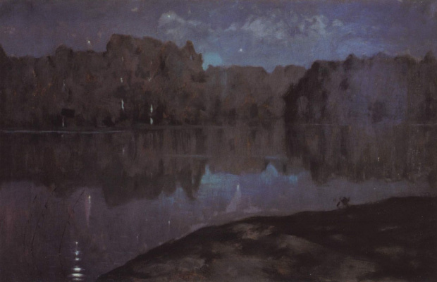 Isaac Levitan. Night. The river