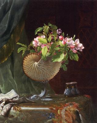 Викторианский натюрморт с веткой цветущей яблони