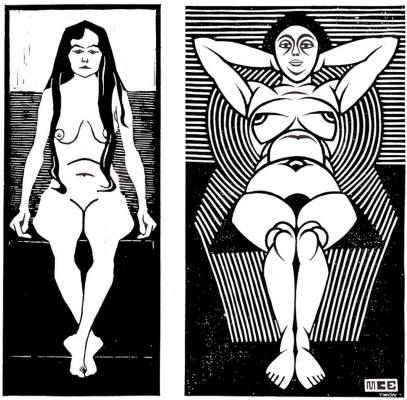Мауриц Корнелис Эшер. Сидящая обнаженная женщина