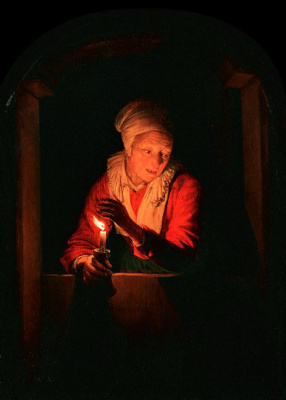 Gerrit (Gerard) Dow. The old woman with a candle