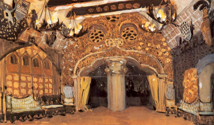 "Alexander Yakovlevich Golovin. The Golden hall. The sketch for the ballet of Tchaikovsky ""Swan lake"""