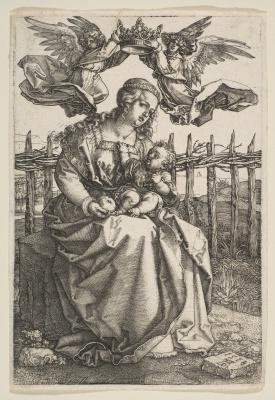 Albrecht Durer. Madonna, koronuemoy two angels