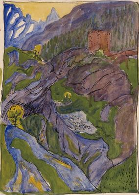 Giovanni Giacometti. Castle in the mountains