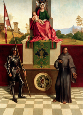 Giorgione. Altar of Castelfranco: Madonna on the throne with Saint Nicazio and Saint Francis