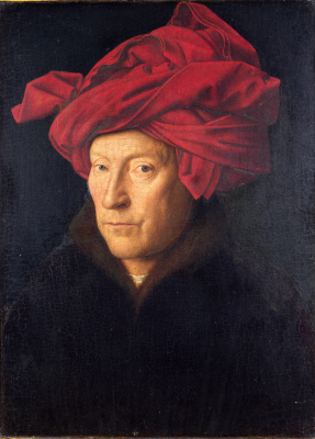 Jan van Eyck. Portrait of a man in a red turban (self Portrait?)
