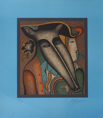 "Michael Shemyakin. From the series ""Masks"". 1970s, Colour autolithograph. Author's imprint."