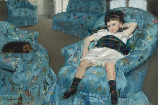 Mary Cassatt. Little girl in a blue armchair