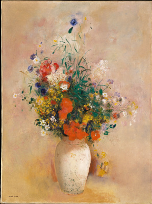 Odilon Redon. Vase of flowers (pink background)