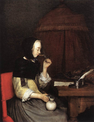 Gerard Terborch (ter Borch). Woman drinking wine