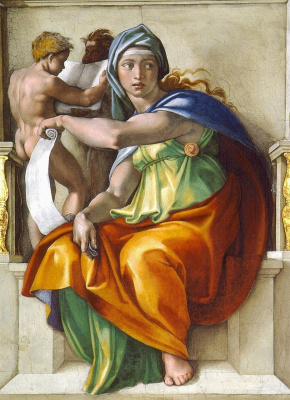 Michelangelo Buonarroti. The Delphic sibyl. A fragment of the painting of the Sistine chapel ceiling