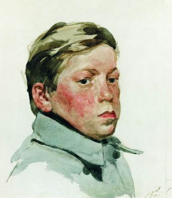 Andrei Petrovich Ryabushkin. The head of a guy. 1901