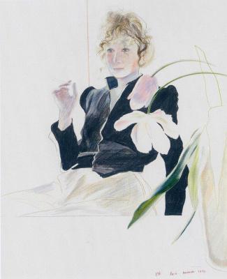 Дэвид Хокни. Селия в черном платье с белыми цветами