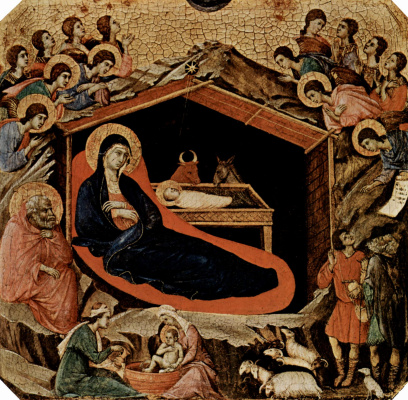 Duccio di Buoninsegna. Maesta, altar of Siena Cathedral, front, predella with scenes from the childhood of Jesus and the prophets, Christmas XP