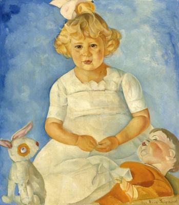 Борис Дмитриевич Григорьев. Портрет девочки с куклами