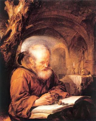 Герард Доу. Молитва отшельника