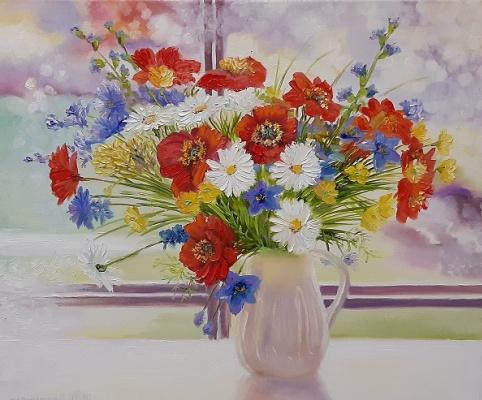 Evgeny Vladimirovich Terentyev. Field bouquet in a white jug