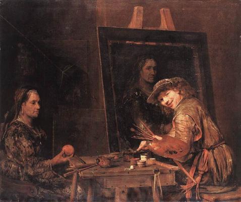 Art Johans de Gelder. Self portrait while drawing old woman