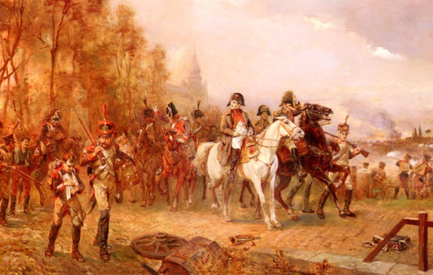 Наполеон со своими войсками в битве при Бородино