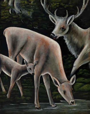 Niko Pirosmani (Pirosmanashvili). Three deer at the spring