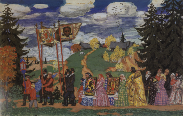 Boris Mikhailovich Kustodiev. Procession (sketch option)