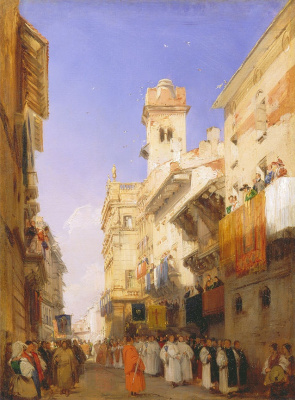 Richard Parkes Bonington. Street of St. Anastasia in Verona