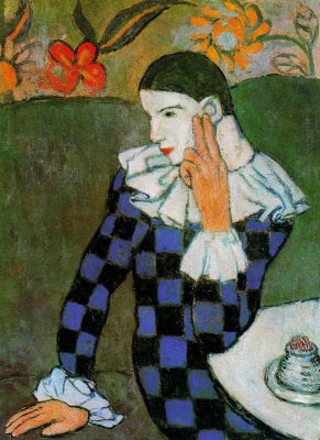 Pablo Picasso. Leaning Harlequin