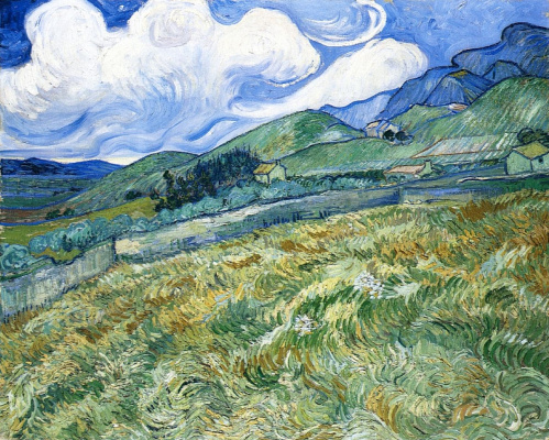 Vincent van Gogh. Wheat field with mountains in the background