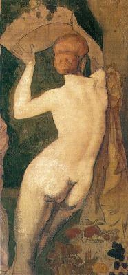 "Pierre Cecil Puvi de Chavannes. A fragment of ""Autumn"",Nude girl at tree"