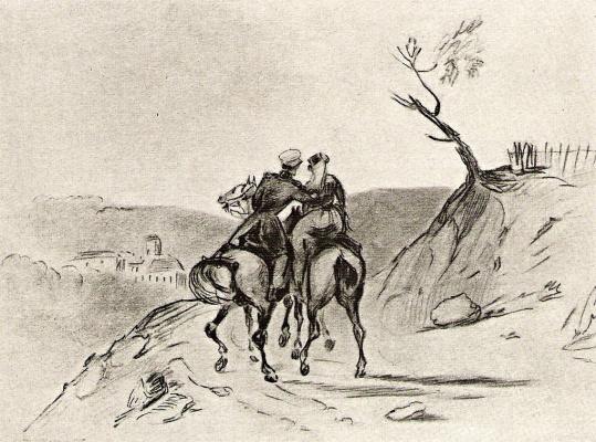 Mikhail Yurjevich Lermontov. The officer on horseback and Amazon