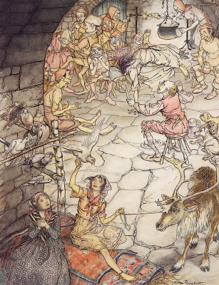Arthur Rackham. Gerda and the little robber