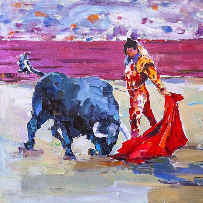 "Jose Rodriguez. ""Bullfight. Bullfighter and the bull"""