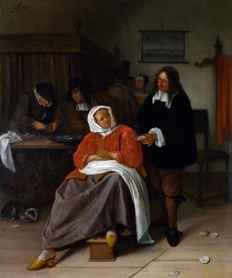 Jan Steen. Man offering a woman an oyster