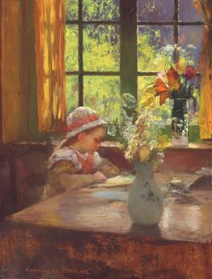 Gaston la Touche France 1854 - 1913. The girl in bonnet, reading by the window.