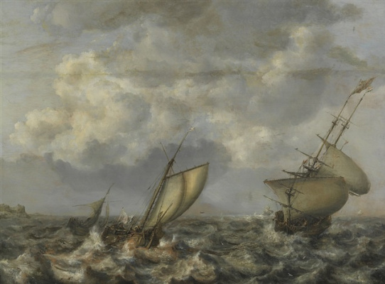 Ян Порселлис. Парусники в неспокойном море