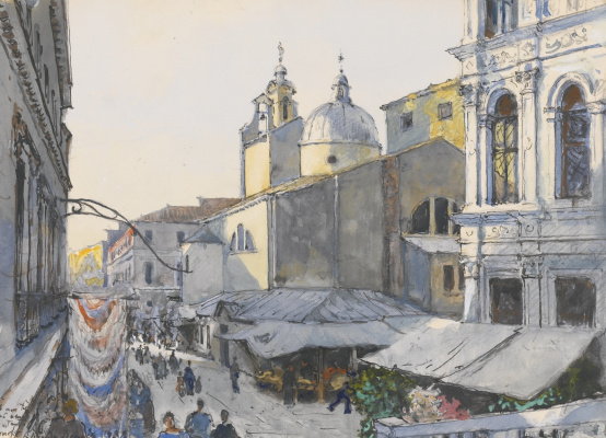 Constantin Somov. Shopping area in front of the Church