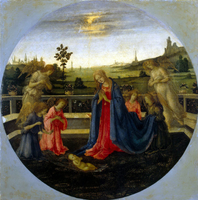 Filippino Lippi. The worship of the infant Christ