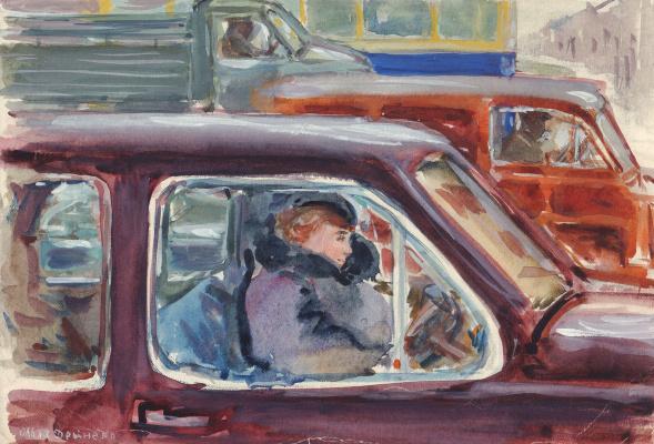 Olga Konstantinovna Deineko. At a traffic light. 1958