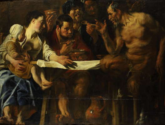 Jacob Jordaens. Satyr visiting a peasant