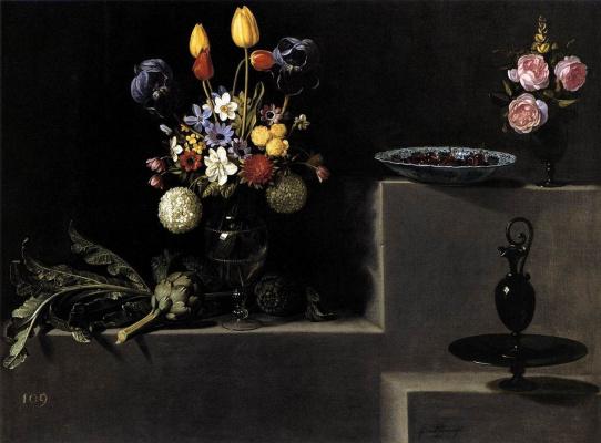 Juan van der Hamen y León. Still life with flowers, artichokes and cherry