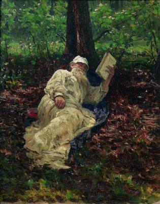 Илья Ефимович Репин. Лев Николаевич Толстой на отдыхе в лесу