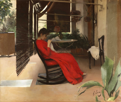 Ramon Casas i Carbó. Woman in red dress sewing