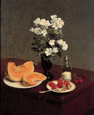 Анри Фантен-Латур. Натюрморт с цветами, дыней, клубникой и вишней