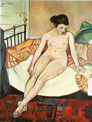 Suzanne Valadon. Nude woman with striped blanket