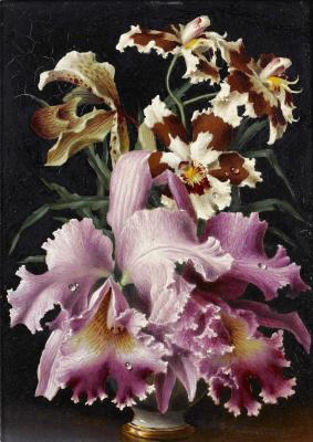 Лев Смарагдович Чистовский. Орхидеи в вазе.